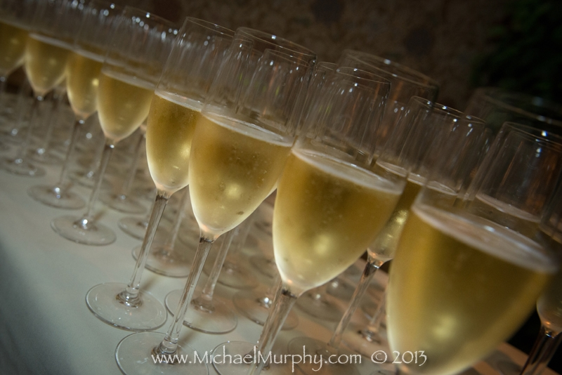 Champagne fills a line of sparkling glasses at the Riverside Hotel, Ft. Lauderdale.