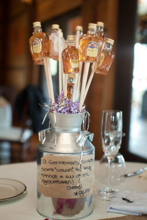 Gentlemens bouquet of Crown Royale at Lingrow Farm wedding, Pittsburgh.