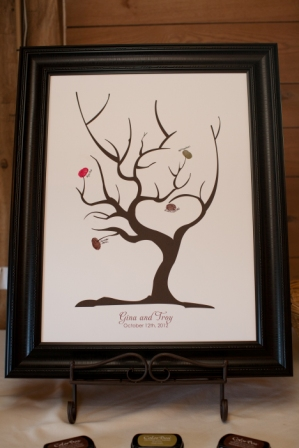 Thumbprint tree guest book at Lingrow Farm wedding, Pittsburgh.