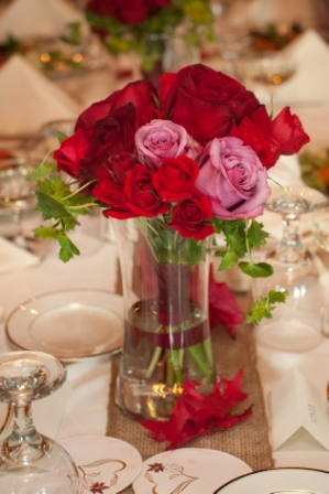 Flowers in centerpiece at Lingrow Farm wedding, Pittsburgh.