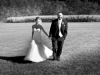 Bride and groom walking at Lingrow Farm wedding, Pittsburgh.