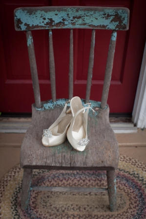 Bride\'s shoes on chair at Lingrow Farm wedding, Pittsburgh.