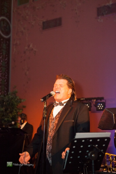 John Parker sings at a Grand Hall at the Priory, Pittsburgh wedding reception.