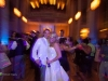 Newlywed bride and groom pose on the dance floor at a Grand Hall at the Priory, Pittsburgh wedding reception.