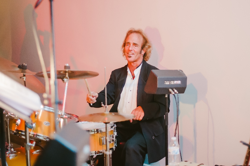 City Heat Band Drummer performing at a Phipps Conservatory, Pittsburgh wedding reception.
