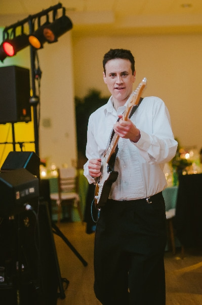 City Heat Band Guitarist performing at a Phipps Conservatory, Pittsburgh wedding reception.