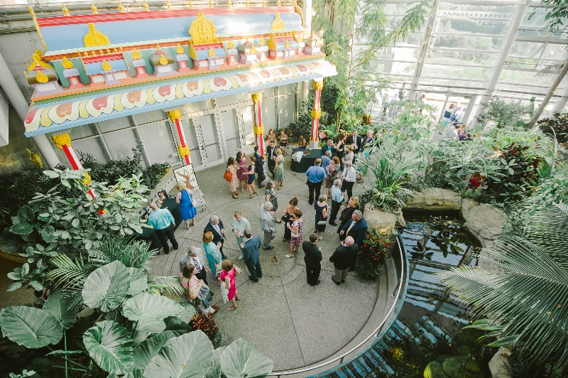 An outdoor cocktail party at a Phipps Conservatory, Pittsburgh wedding reception.