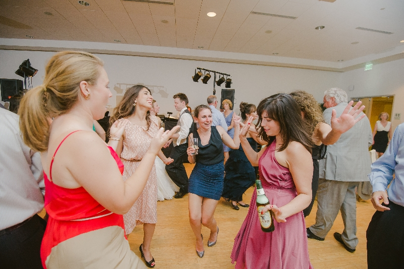 Wedding guests dancing at a Phipps Conservatory, Pittsburgh wedding reception.