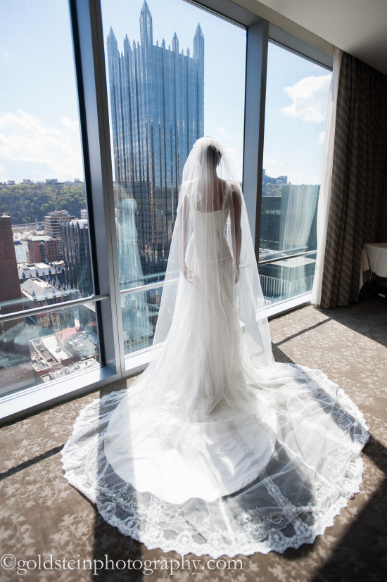 Fairmont Hotel Pittsburgh Wedding: Bride Sports Dramatic Cathedral Veil