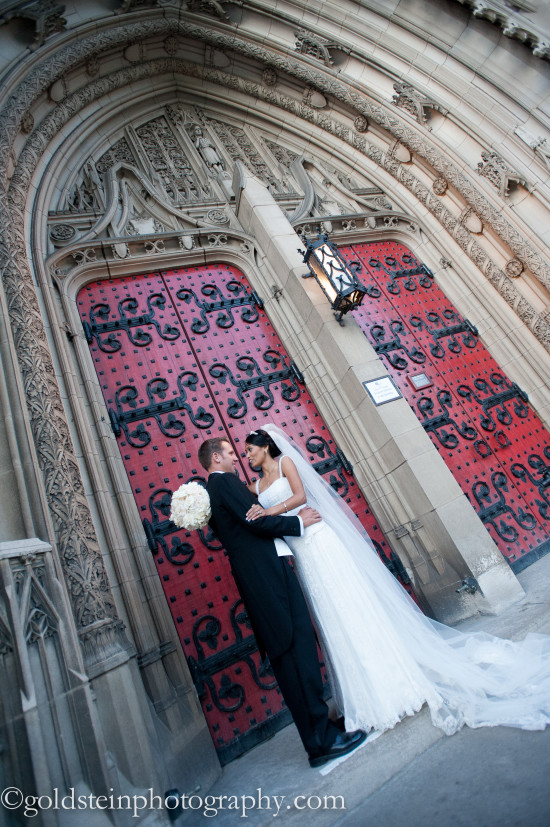 Fairmont Hotel Pittsburgh Wedding Ceremony: Couple Embraces Before Heinz Chapel Doors