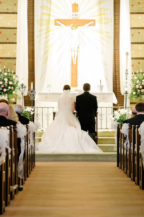 Circuit Center Pittsburgh Wedding Ceremony - Couple at Altar During Catholic Ceremony