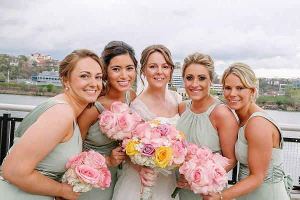 Circuit Center Pittsburgh Wedding - Bride's Wedding Party with Bouquets
