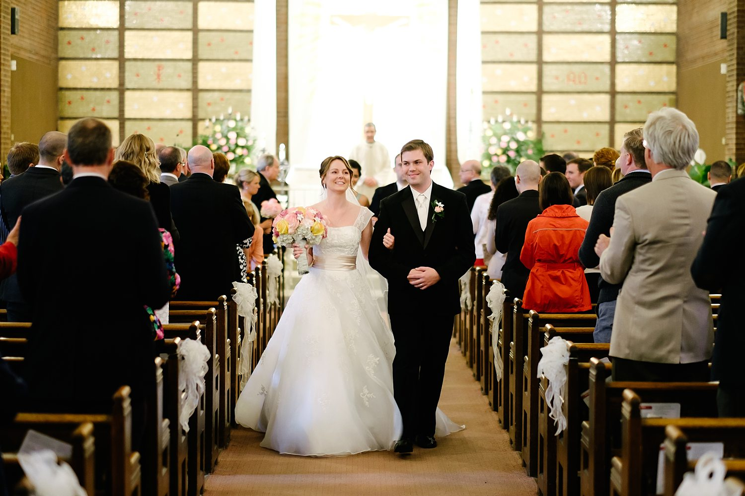 Circuit Center Pittsburgh Wedding Ceremony - Bride and Groom Exit Church