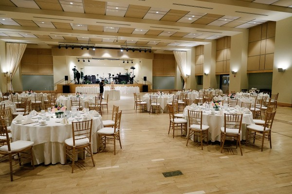 Circuit Center Pittsburgh Wedding Reception - Ballroom with White Tables and Golden Chairs