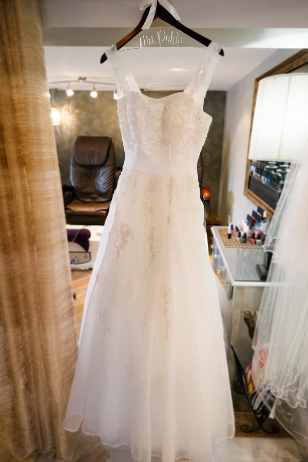 Circuit Center Pittsburgh Wedding - Bridal Dress with Wire Name Hanger