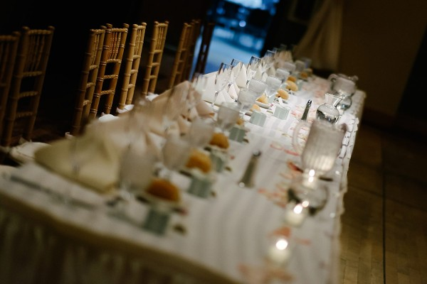 Circuit Center Pittsburgh Wedding Reception - White and Turquoise Table Settings