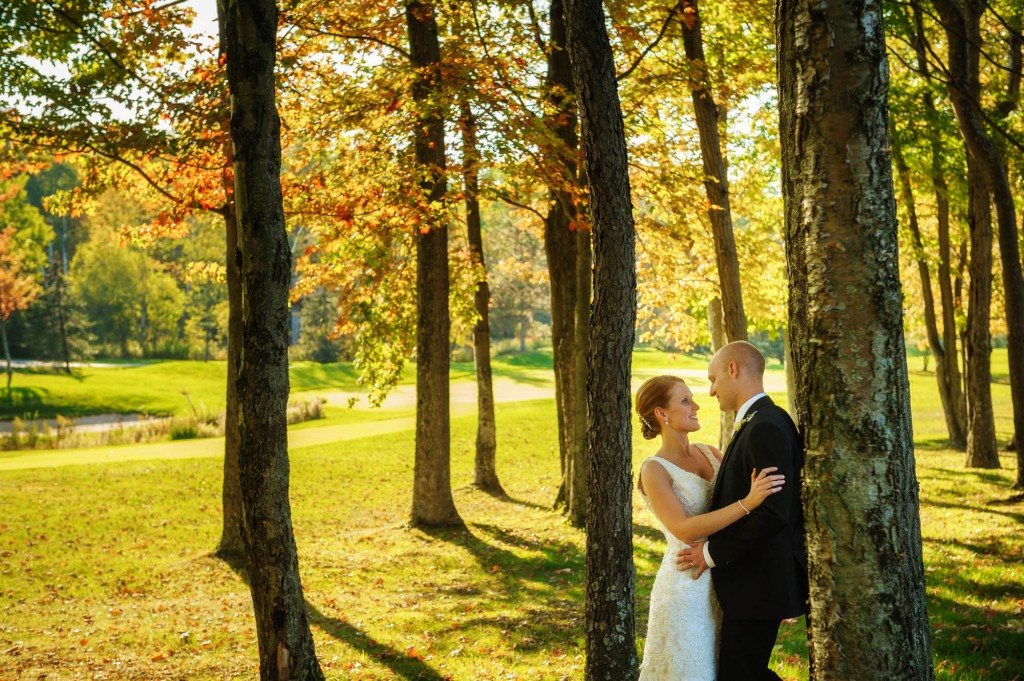 Peek n Peak Wedding Bride and Groom on Wooded Golf Course