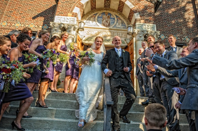 Peek n Peak Wedding with Newlyweds Exiting Church and Throwing Feathers