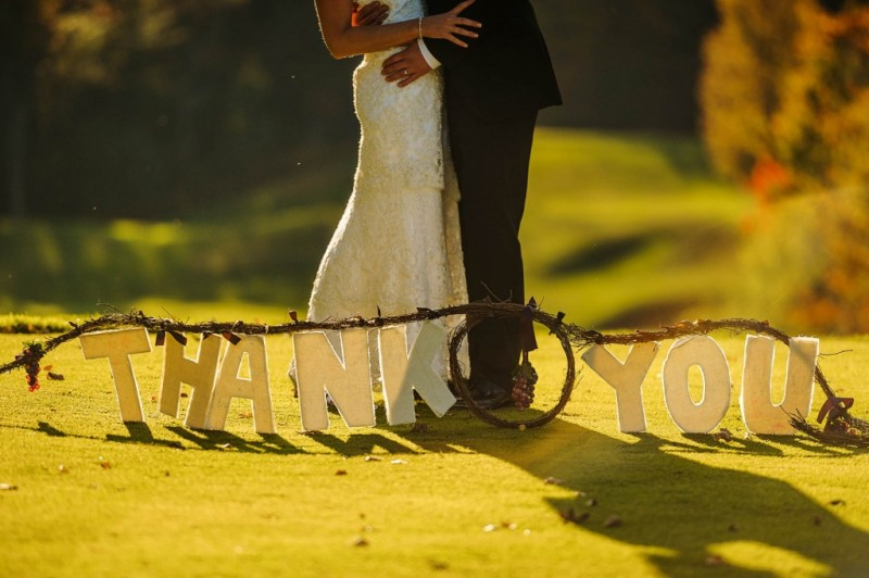 Peek n Peak Wedding Outdoor Thank You Couple Photo
