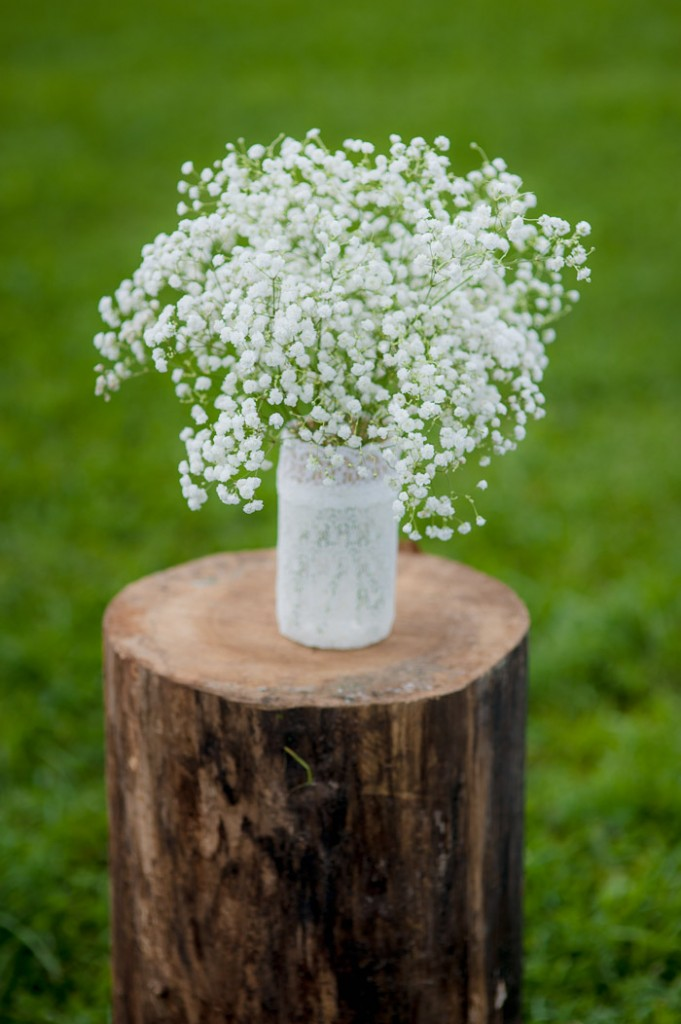 Foxley Farm Wedding Baby's Breath in Mason Jar Flowers
