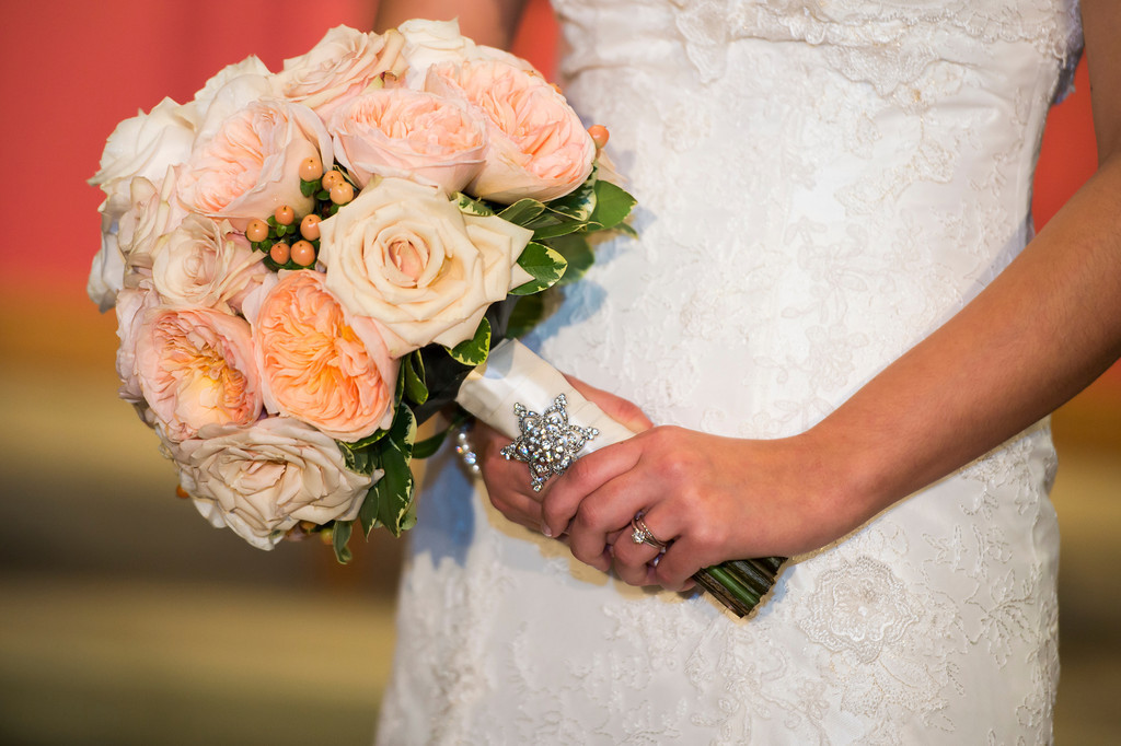 Montour Heights Pittsburgh Wedding Orange Bridal Bouquet with Crystals