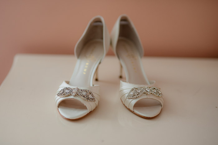 Foxley Farm Wedding White Satin Bridal Shoes with Crystals