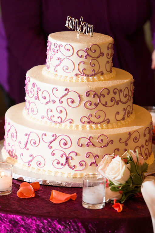 Montour Heights Pittsburgh Wedding Cake with Purple Detailing and Name Topper