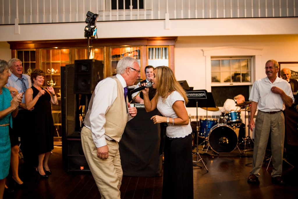 Foxley Farm Wedding Reception Band Singing with Guests