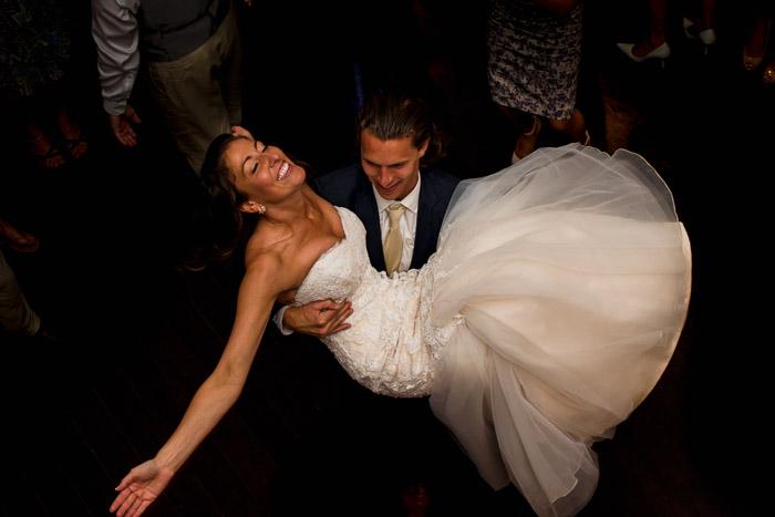 Foxley Farm Wedding Reception Bride and Groom Dancing