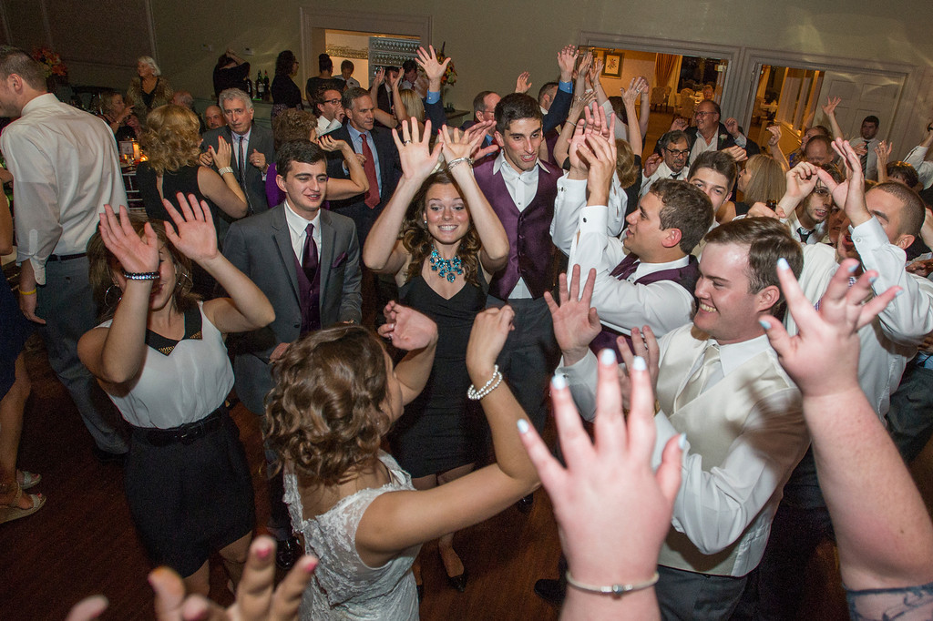 Montour Heights Pittsburgh Wedding Reception with Guests Raising Hands and Dancing