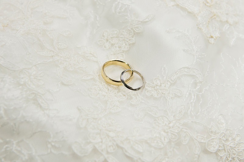 Montour Heights Pittsburgh Wedding Gold and Silver Wedding Bands Over Lace