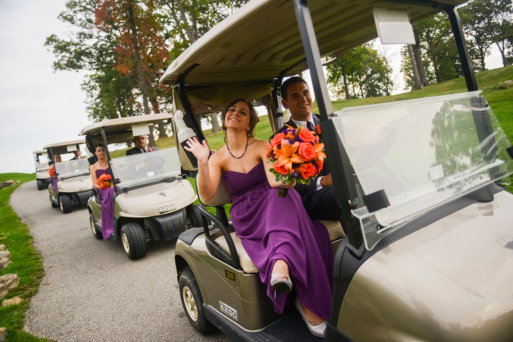 Montour Heights Pittsburgh Wedding Party Golf Cart Procession to Reception