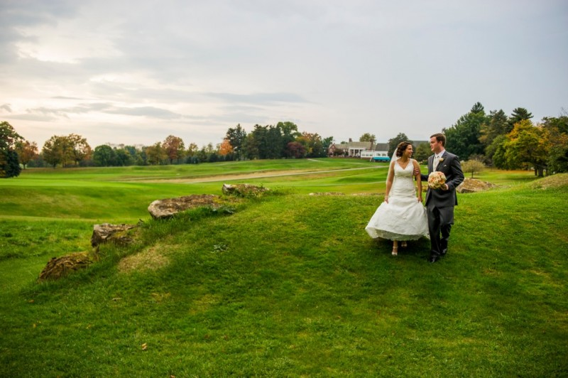 Montour Heights Pittsburgh Wedding Newlyweds Strolling Across Golf Course Reception Venue