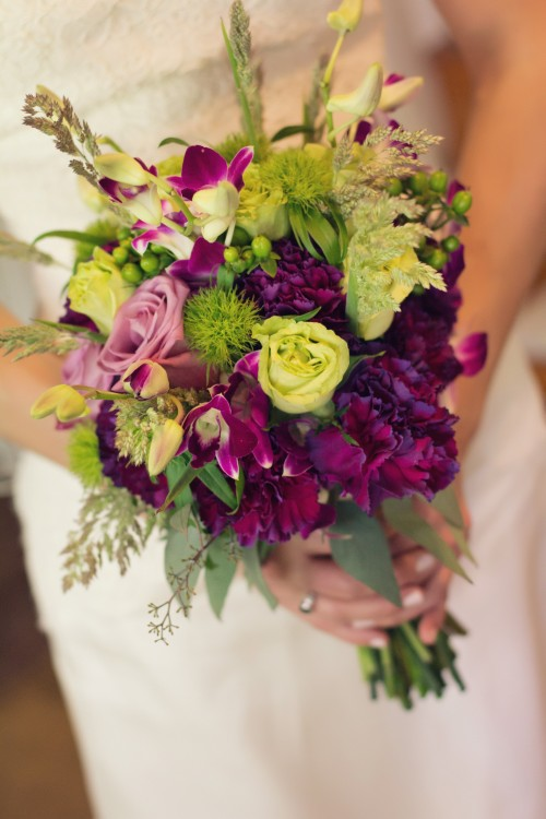 Green Gables Jennerstown Wedding Organic Purple and Green Wildflower Bouquet