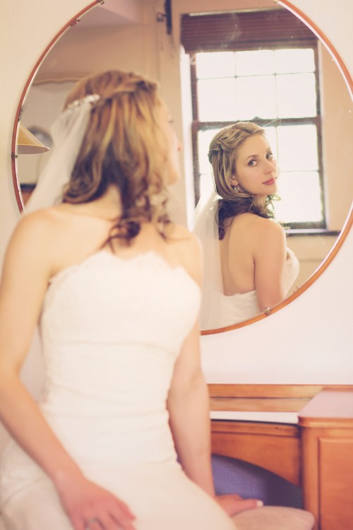 Green Gables Jennerstown Wedding Bride Looking Into Mirror Before Ceremony
