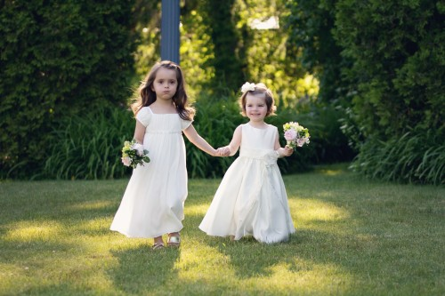 Green Gables Jennerstown Wedding Two Adorable Flower Girls Dressed in White