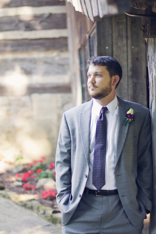 Green Gables Jennerstown WeddingGreen Gables Jennerstown Wedding Groom in Gray Tuxedo with Purple Tie