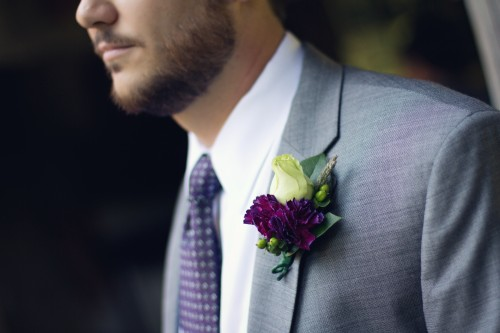 Green Gables Jennerstown Wedding Groom's Purple and Green Boutineer