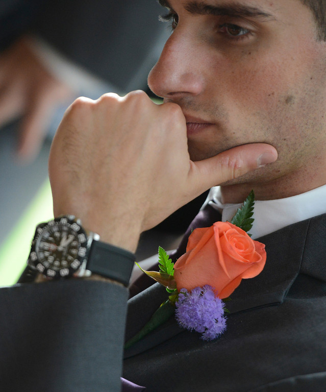 Montour Heights Pittsburgh Wedding Groomsmen Orange Rose Boutineer and Wrist Watch