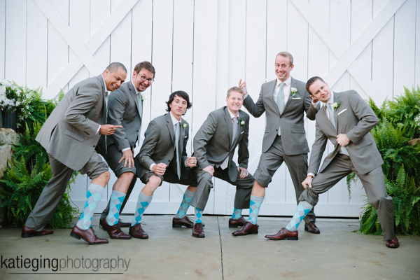 White Barn Pittsburgh Wedding Groomsmen with Gray Tux and Blue Plaid Socks