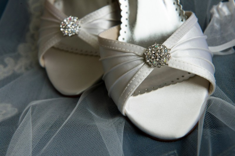 Montour Heights Pittsburgh Wedding Classic White Satin Shoes with Crystals
