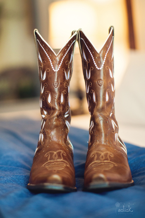 The Links Wedding Bride's Brown Cowboy Boots