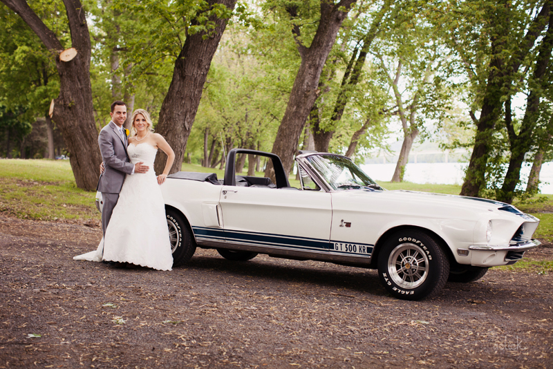 The Links Wedding Vehicle Old White GT 500 Mustang
