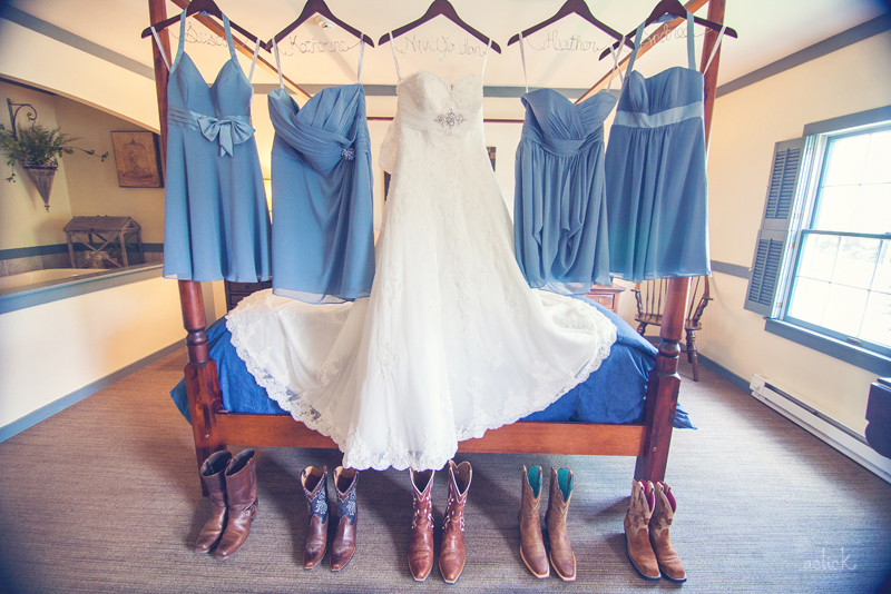 The Links Wedding Dress, Blue Bridesmaid's Dress, and Cowboy Boots