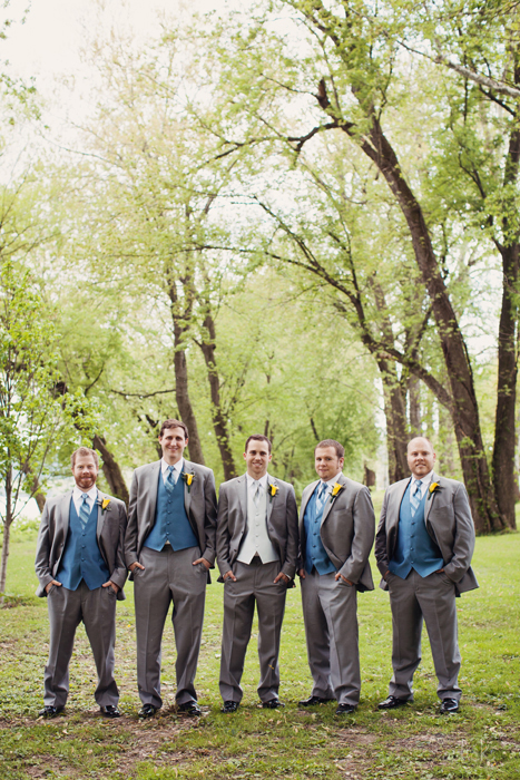 The Links Wedding Men in Gray and Blue Tuxedos