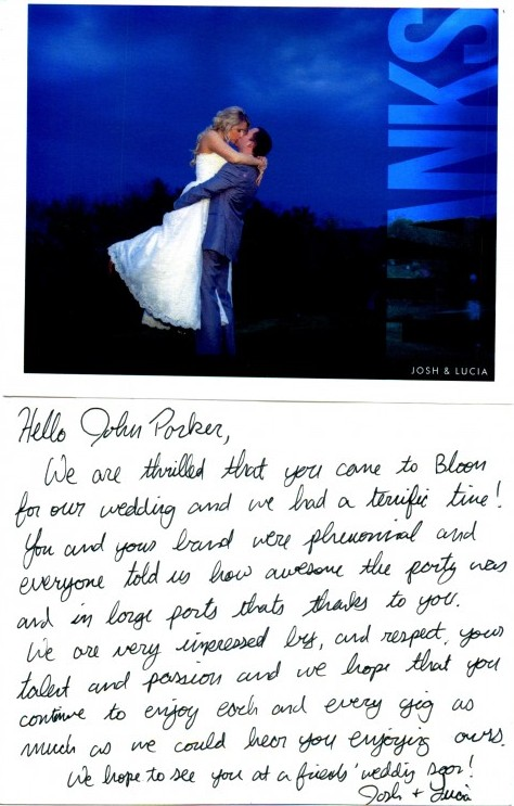 The Links Wedding Newlyweds Thank You Letter to the John Parker Band