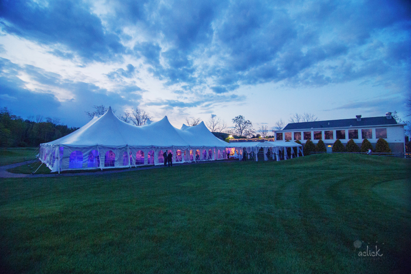 The Links Wedding White and Purple Reception Tent