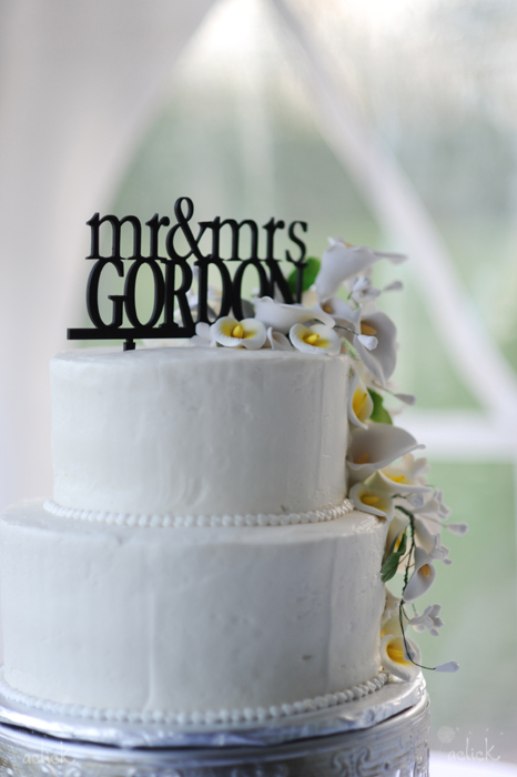 The Links Wedding Cake with White Fondant and Name Topper