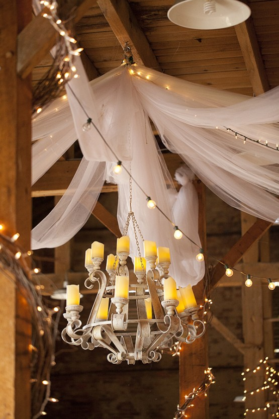 West Overton Barn Scottsdale Wedding with Fabric Streamers and Candle Chandelier