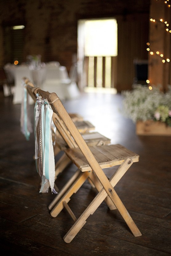 West Overton Barn Scottsdale Wedding Ceremony with Simple Chairs Hung with Streamers